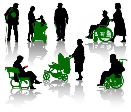 Silhouet van de oude en gehandicapten.