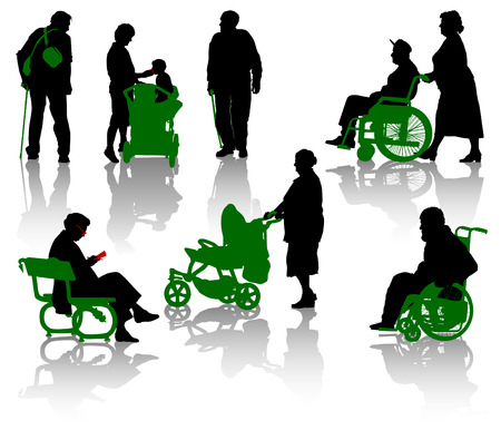 Silhouette of old and disabled people. Stock Vector - 7460405