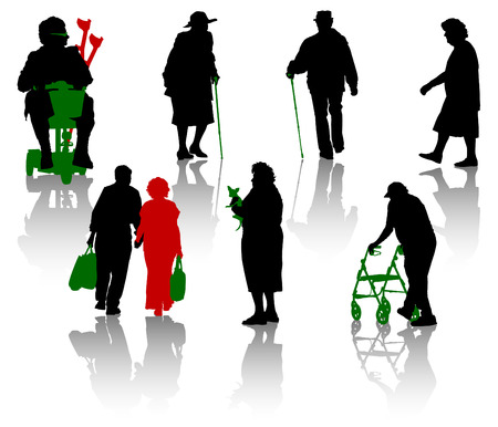 old family: Silhouette of old and disabled people.