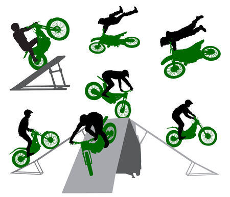motocycle: Stunt show on a motorcycle. Illustration