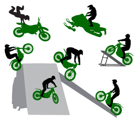 dangerous man: Stunt show on a motorcycle. Illustration