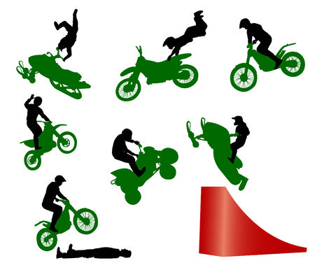 motocycle: Silhouette of stunt man.