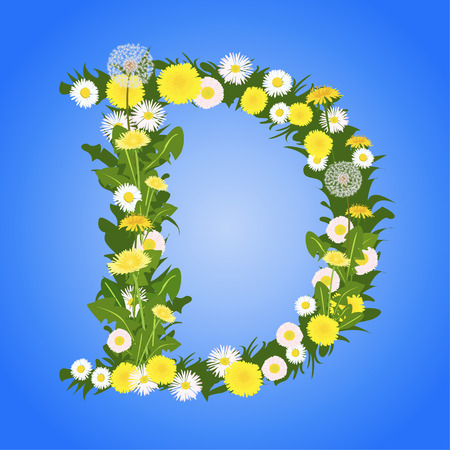 Letter D, collected from the flowers of dandelion and daisy