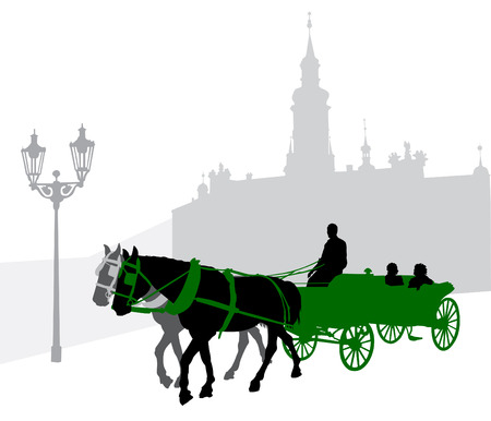 Silhouette of a carriage with tourists in Prague against Loretta Vector