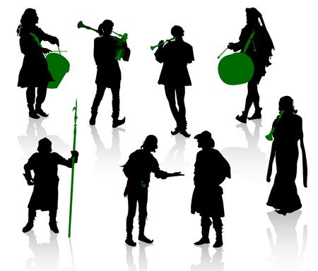 medioevo: Sagome di persone in costume medievale. Cavaliere, musicisti, giocolieri, un commerciante.