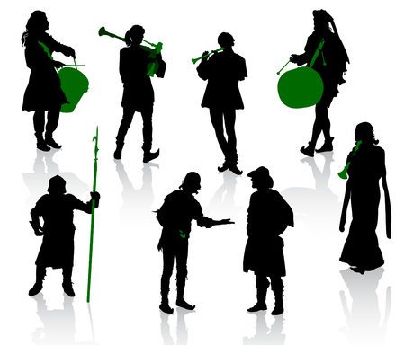 Silhouettes of people in medieval costumes. Knight, musicians, jugglers, a merchant.