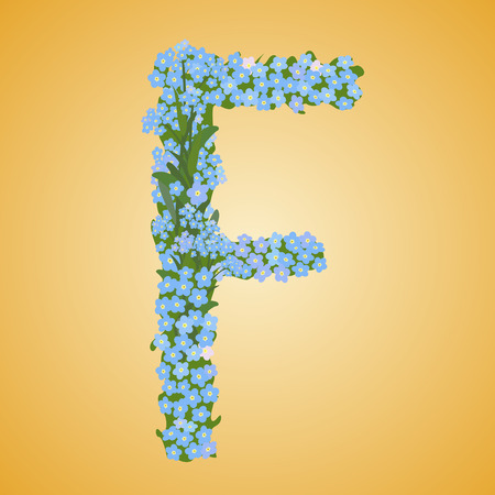 Letter F, collected from the forget-me-not flowers  Vector