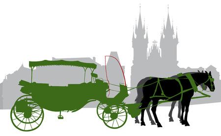 servicio domestico: Silueta de un transporte en la ciudad vieja en Praga.  Vectores