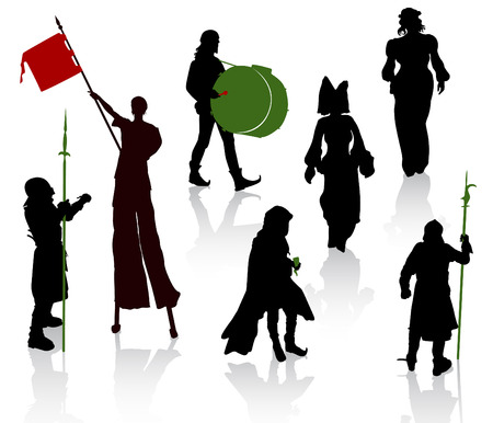 Silhouettes of people in medieval costumes. Knight, musicians, juggler on stilts, ladies.
