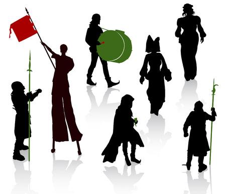 zancos: Siluetas de personas en trajes medievales. Caballero, m�sicos, malabarista en zancos, se�oras.