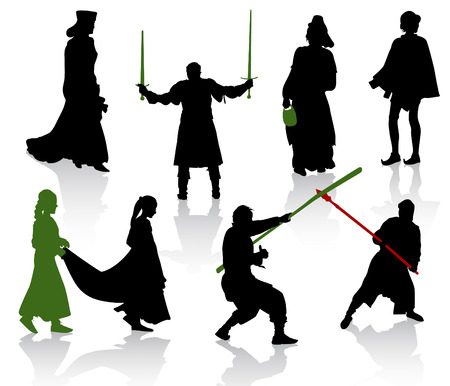 Silhouettes of people in medieval costumes. Knight, warrior, herald, princess. Vector