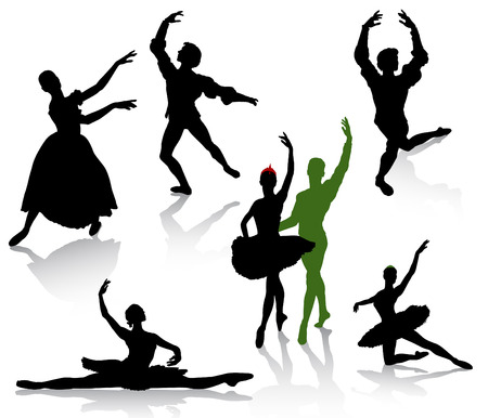 Silhouettes of ballerinas and dancer in movement on a white background Stock Vector - 8660809