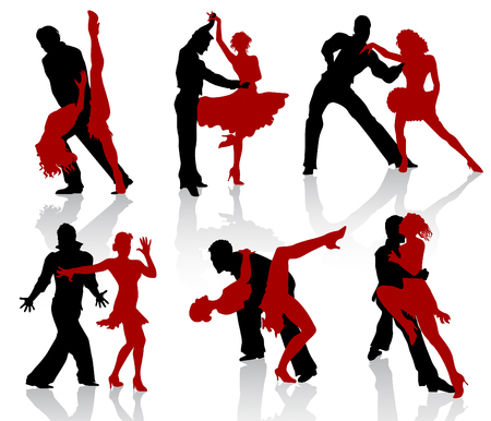 ballroom: Silhouettes of the pairs dancing ballroom dances. Tango, step.