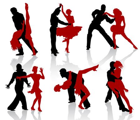 pareja bailando: Siluetas de las parejas bailando danzas de sal�n de baile. Paso, el tango.