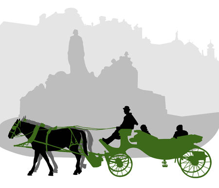 Silhouette of a carriage in Old Town Square in Prague near the monument to Jan Hus Vector