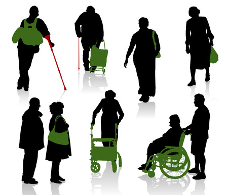 disable: Silhouette of old and disabled people.