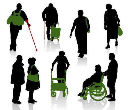 rollstuhl: Silhouette von alten und behinderten Menschen.  Illustration