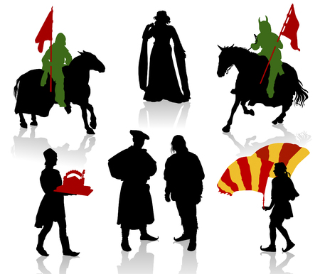 Silhouettes of people in medieval costumes. Knight, warrior, herald, princess, juggler, merchand.