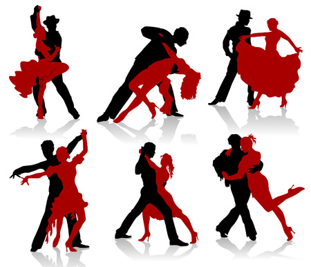 Silhouettes of the pairs dancing ballroom dances. Tango, step. Vector