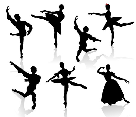 Silhouettes of ballerinas and dancer in movement on a white background