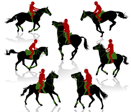 dressage: Silhouettes of equestrians on horses during competitions