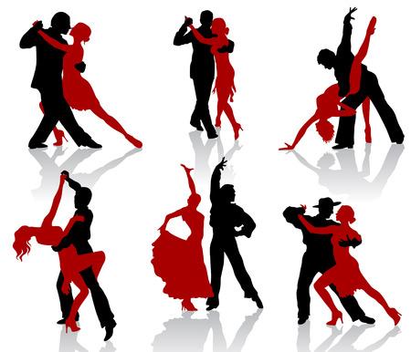 Siluetas de las parejas bailando danzas de salón de baile. Tango. Ilustración de vector