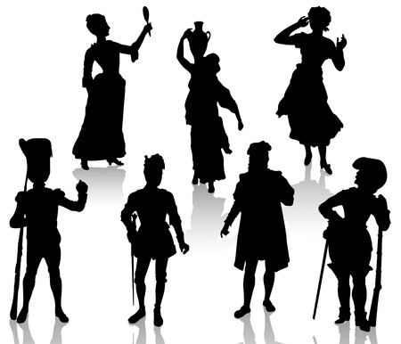 woman with gun: Silhouettes of the actors in theatrical costumes. Illustration