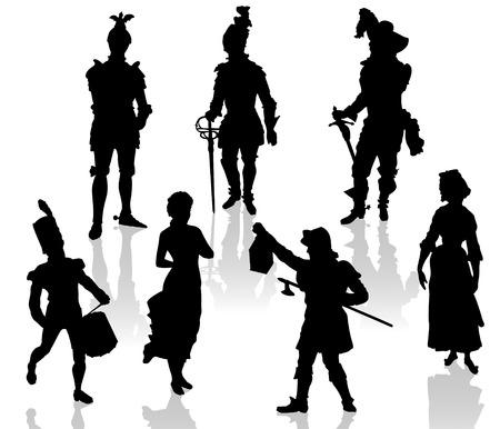 alabarda: Sagome di attori di costumi teatrali. Vettoriali