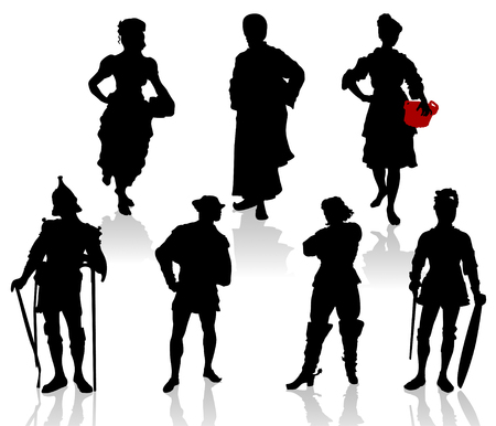 medieval woman: Silhouettes of the actors in theatrical costumes. Illustration