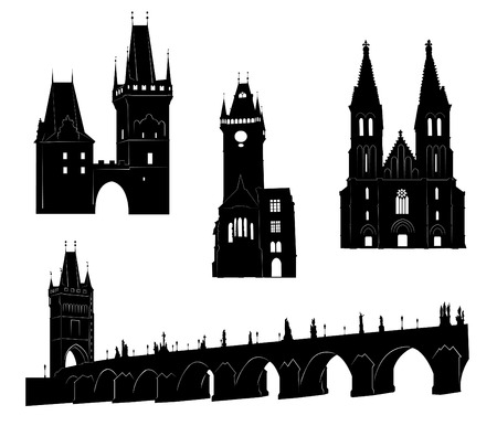 town hall: Silhouettes of famous buildings and landmarks of Prague.