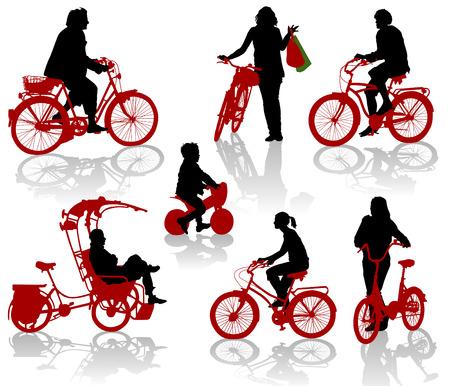 cyclist: Silhouetten van mensen en kinderen op de fiets Stock Illustratie