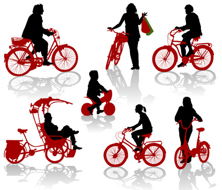 Silhouettes of people and children on bicycles Vector