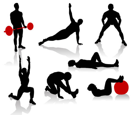 Silhouettes of exercises people Stock Vector - 9053847
