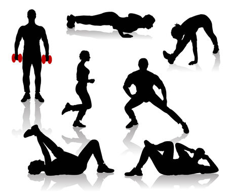 Silhouettes of exercises people Stock Vector - 9053848