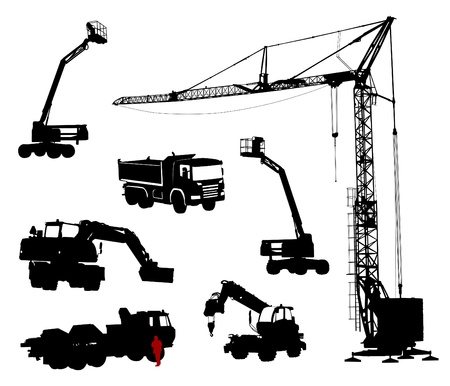 Detailed silhouettes of construction machinery.