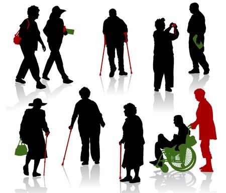 personas ancianas: Silueta de personas de edad y discapacitadas.