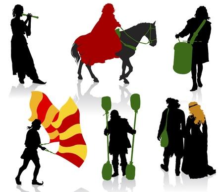 Silhouetten van mensen in middeleeuwse kostuums. Knight, drummer, musicus, jongleur, edelen