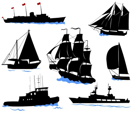 old boat: Silhouettes of offshore ships - yacht, fishing boat, the warship.