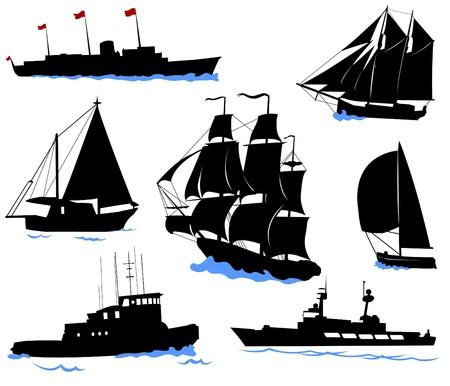 Silhouettes przybrzeżnych statków - jachtem, łodzi rybackich, okrętu.