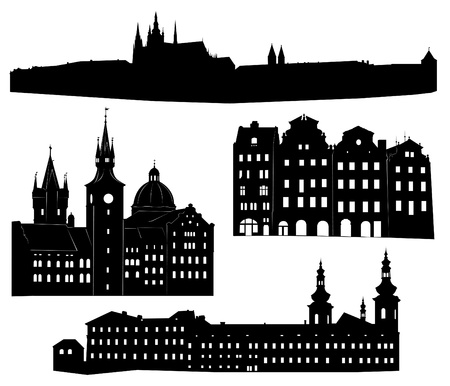 prague: Silhouettes of famous buildings and landmarks of Prague.
