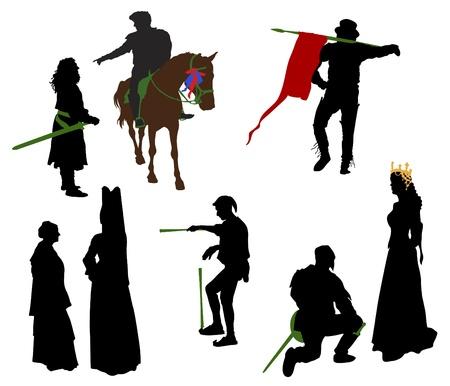 Siluetas de personas en trajes medievales. Caballero, reina, malabarista, nobles.