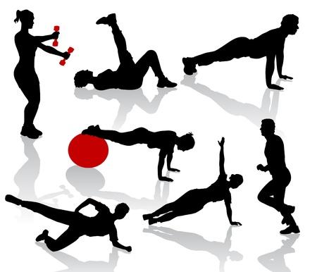weights: Sagome di persone di esercizi Vettoriali