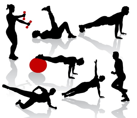 female athletes: Silhouettes of exercises people