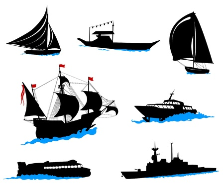 Silhouettes of offshore ships - yacht, fishing boat, the warship. Vector