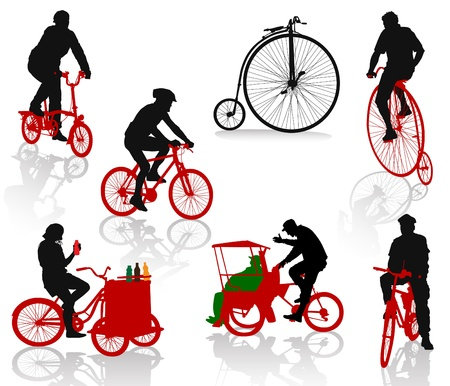 rickshaw: Silhouettes of people on bicycles. Modern and historic bikes