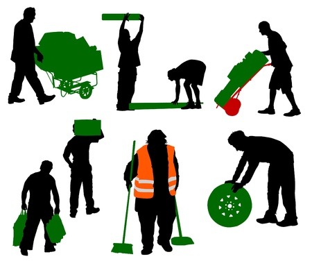Silhouettes of people of different trades Illustration