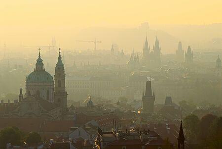 horizon over land: Sunrise in Prague