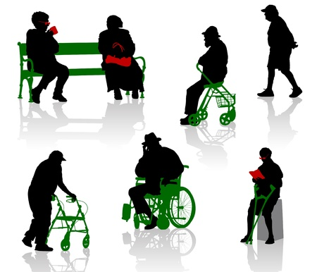 Silhouette of old and disabled people   photo