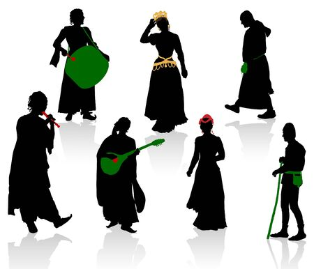 Silhouettes of medieval people photo