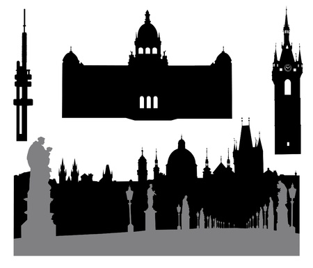 prague: Silhouettes of famous buildings and landmarks of Prague